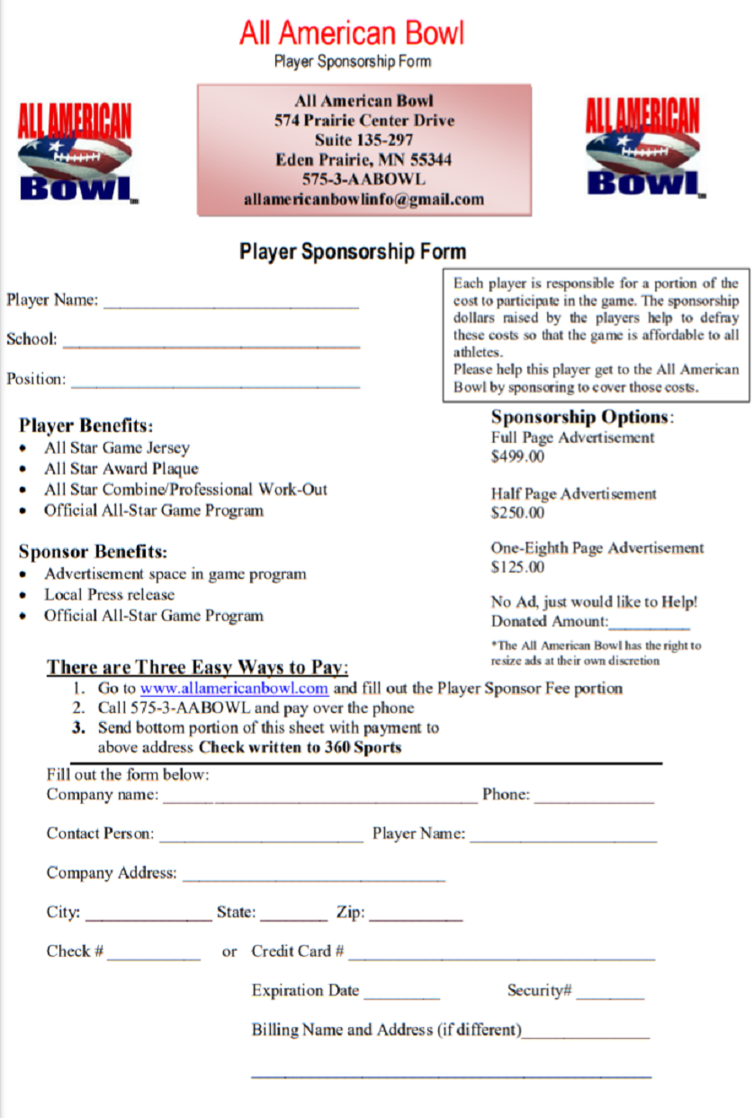 All American Bowl Player Sponsorship Form
